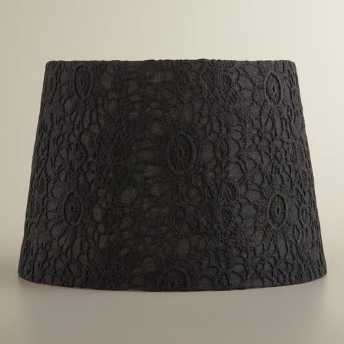 black lace accent lamp shade cost plus lace and black. Black Bedroom Furniture Sets. Home Design Ideas