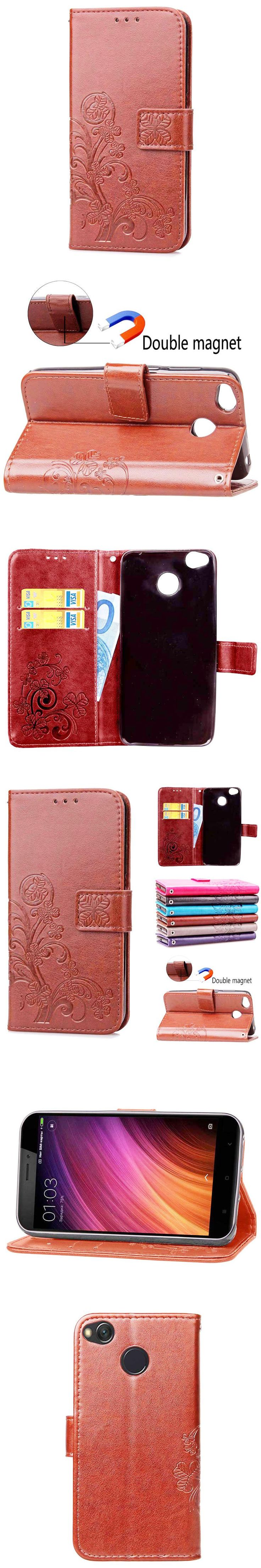 For Xiaomi Redmi 4X BEFOSPEY Leaf Leaves Magnetic Wallet Leather Phone Case Luxury Elegant Cover Cases Mobile Phone Holster Bag