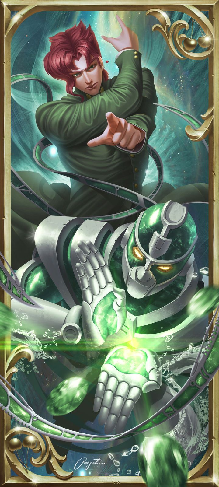 Hello. My name is Noriaki Kakyoin, but not that it matters all that much. Let's see...I'm 17 years old, I have a tendency to get injured a lot, I enjoy art, and my family travels often. My stand's name is Hierophant Green.