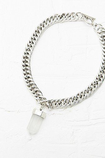 Chunky Crystal Necklace in Silver - Urban Outfitters