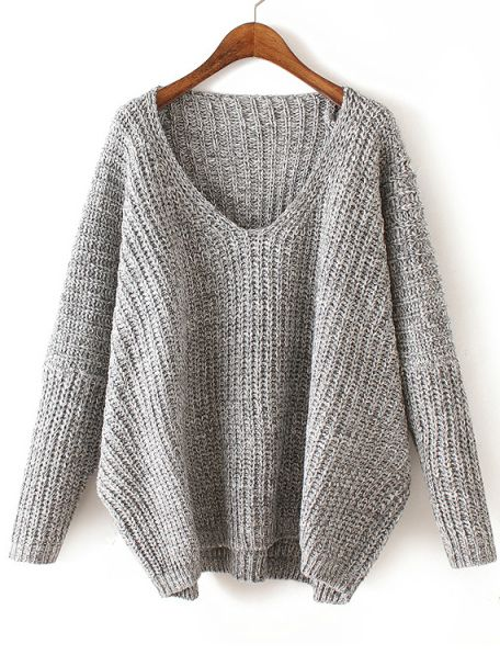 V Neck Chunky Knit Pale Grey Dolman Sweater -SheIn(abaday)