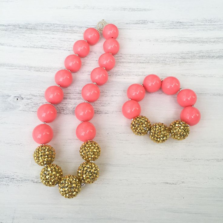 Bubblegum necklace, sparkle necklace, coral and gold bubblegum necklace, coral bubblegum necklace, gold sparkle necklace, bubblegum bracelet, girl toddler necklace, chunky bubblegum, kids necklace, baby necklace, girl toddler necklace, baby photo prop, stylish kids, trendy kids, baby fashion, kids fashion, baby boutique, kileys Korner boutique, gifts for girls, girl birthday gift, 1sr birthday necklace  https://www.etsy.com/listing/450839624/gold-and-coral-bubble-gum-necklace-kids