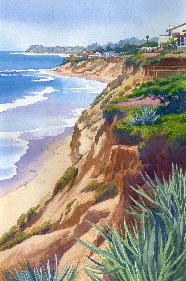 Solana Beach Ocean View by Mary Helmreich ~ watercolor coastal California