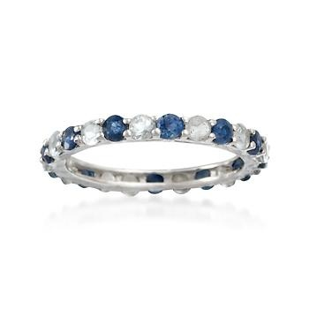 .50 ct. t.w. Aquamarine and .90 ct. t.w. Sapphire Eternity Band In 14kt White Gold