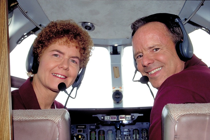 John and Martha King in the cockpit.