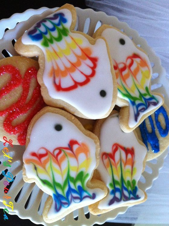 Rainbow fish cookies (at Let's Pour Tea)