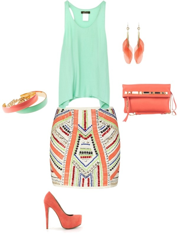 Love the colors: Colors Combos, Mint Green, Dreams Closet, Mint Coral, Summer Outfits, Outfits Ideas, Summer Colors, Summer Night, Coral Mint