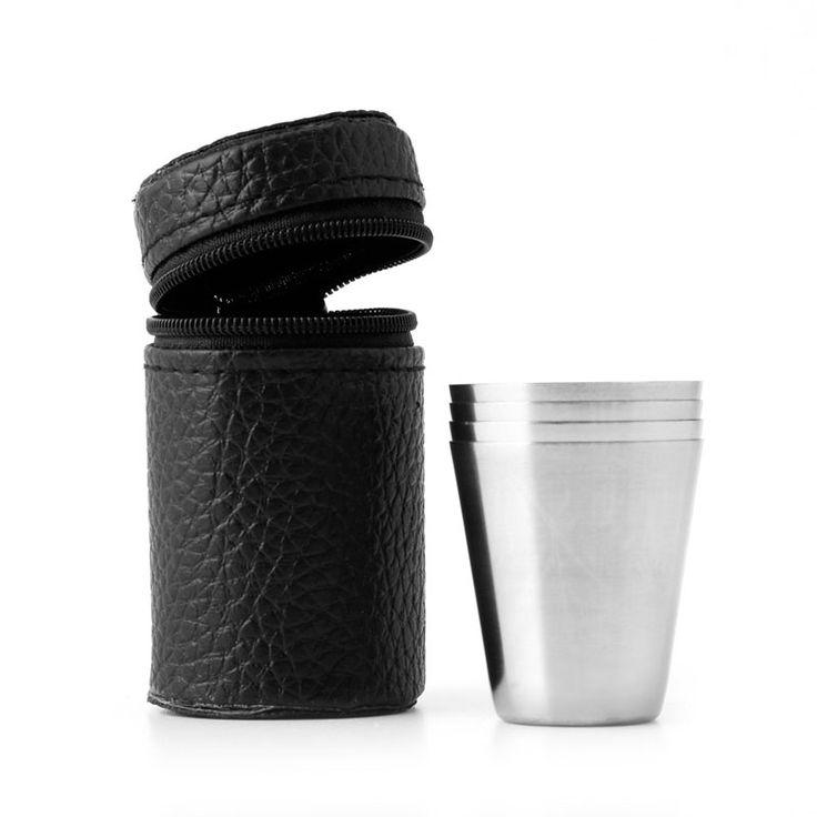 Acero inoxidable 4 Unids Acampar Al Aire Libre Mini Taza Taza de Consumición de la Cerveza Con Caja Vajilla Sirviendo Tazas de Café