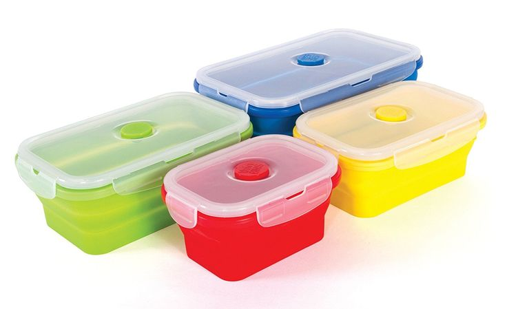 Amazon.com: Thin Bins Collapsible Containers - Set of 4 Square Silicone Food Storage Containers - BPA Free, Microwave, Dishwasher and Freezer Safe - No more cluttered Tupperware cabinet!: Kitchen & Dining