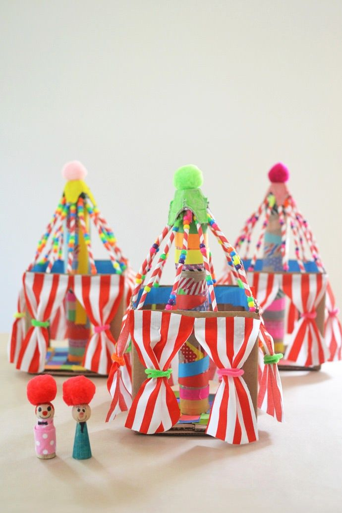 Boys and girls, children of all ages will love being the ringmasters of craftime with decorated DIY circus tents. Read more here - Have A Big Time Under The Big Top With Colorful Cardboard Circus Tent