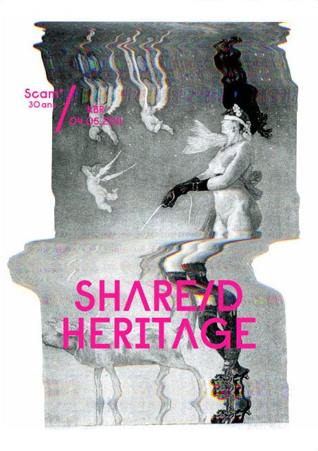 "Visual for ""Share/d Heritage"", a debate organized by Scam (Bibliothèque royale de Bruxelles) around the issue of how contemporary artists may enrich the digitalisation of cultural heritage. By Pam&Jenny, a graphic design studio from Bruxelles. Via: But does it float"