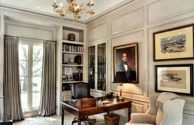 Beautiful paneled study with light paint finish.  Traditional English in style.  Splendid Sass: PERFECTION