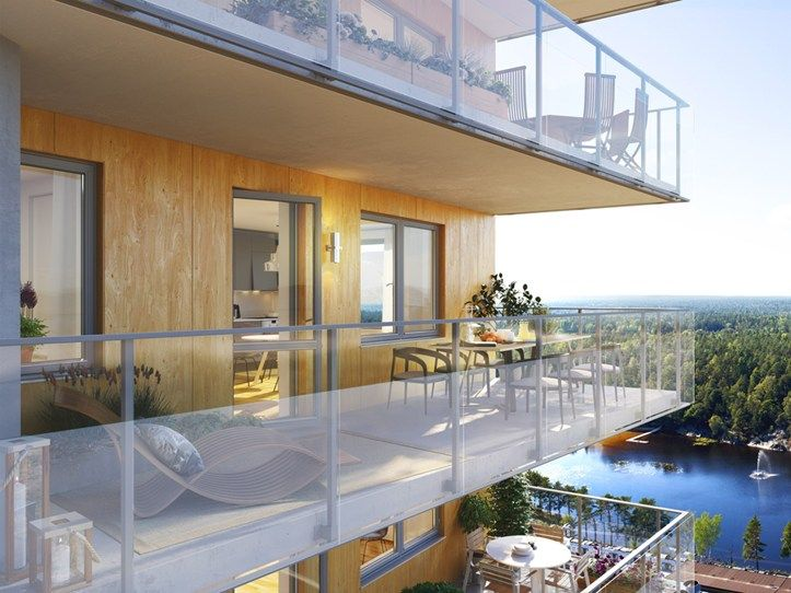 Balcony with spectacular views in Brf Blicken in Haninge.