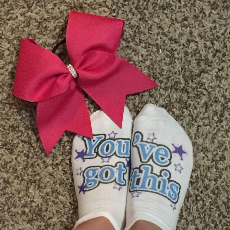 A personal favorite from my Etsy shop https://www.etsy.com/listing/270060265/custom-cheer-socks-perfect-gift-for-the