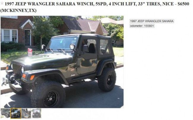 Check Out The Balls On This Texas Man's Craigslist Ad For His Jeep Wrangler