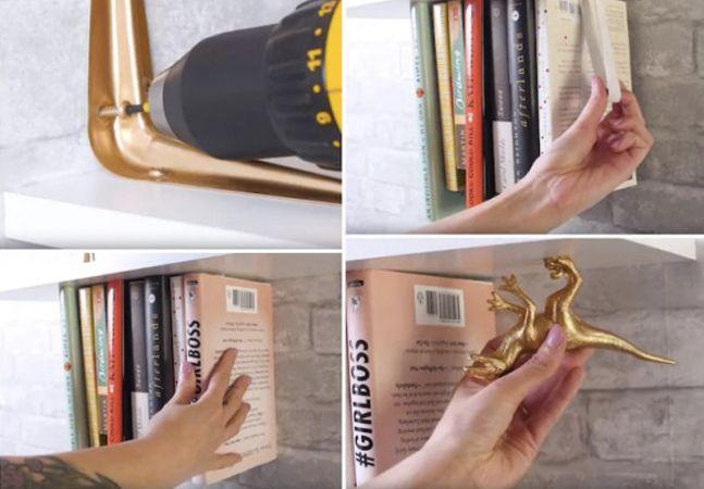 """O segredos dos maiores truques de mágica costuma estar em pequenos detalhes, tão simples quanto engenhosos, capazes de provocar um efeito fantástico – como desafiar a lei da gravidade. Essa """"receita"""" para fazer uma prateleira em que os livros parecem flutuar também esconde um segredo simples, mas capaz de provocar um efeito incrível – e ainda economizar um bom espaço para a disposição de livros na parede.  O truque reside em um artefato evidente: um elástico. Para realiza-lo será preciso…"""