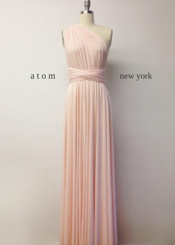 Peach Chiffon Bridesmaid Wedding Dress Prom Evening Maxi Party Long Ballgown UK