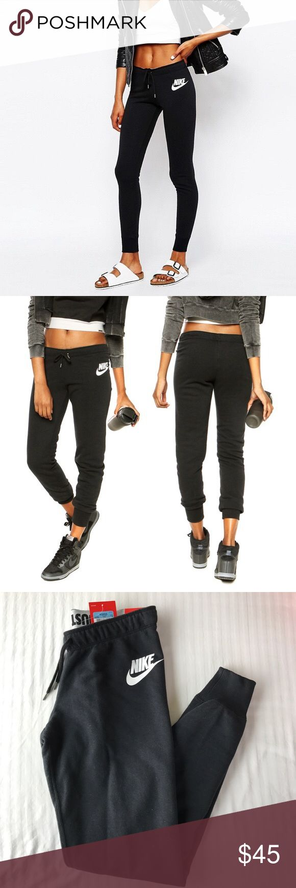 Nike Tight Jogger Sweats •The Nike Rally Tight Women's Pants hug your body from hip to hem for a supportive fit and freedom to move. Brushed French terry fabric offers a soft, worn-in feel.   •Size Medium. True to size, tight fit.   •New with tag.   •NO TRADES/PAYPAL/MERC/HOLDS/NONSENSE. Nike Pants Track Pants & Joggers