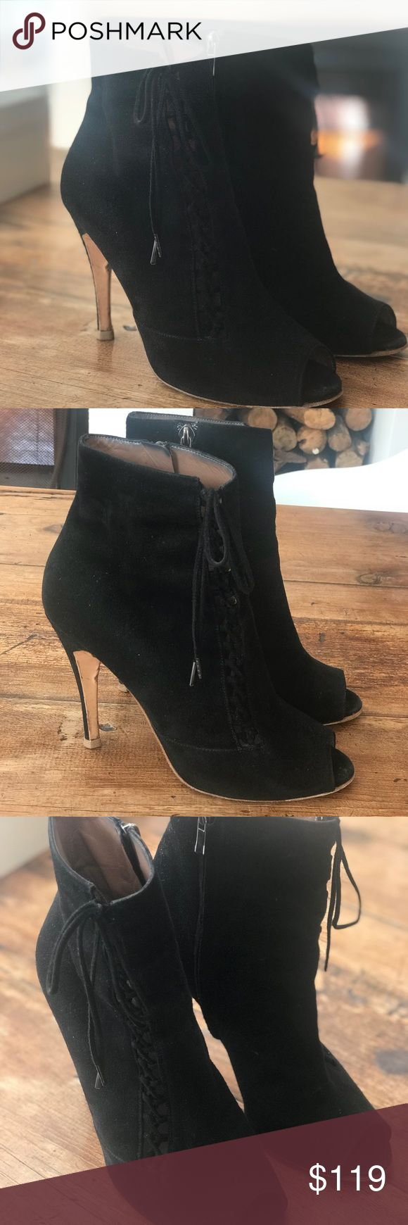 Sigerson Morrison Size 8.5 Black Highheel Boot Sigerson Morrison Designer Size 8.5 Black Highheel Boot with zipper- Suede Made In Italy - Good Condition - as is, see pictures of soles. Sigerson Morrison Shoes Heels
