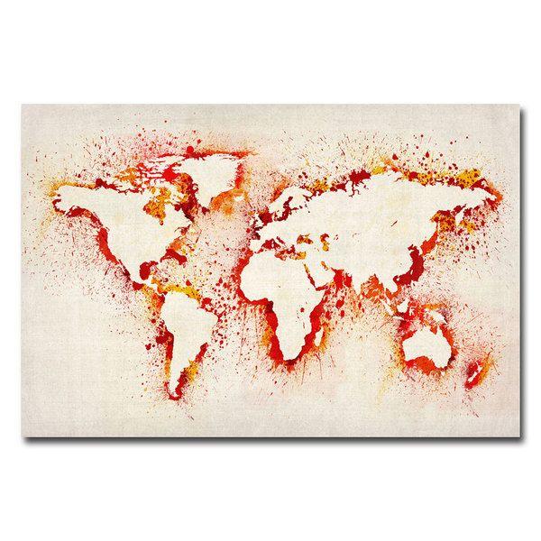 Michael Tompsett 'Paint Outline World Map' Canvas Art