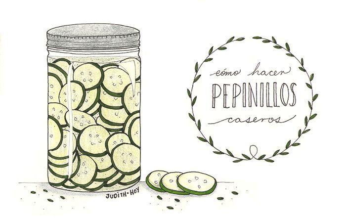 Pepinillos en vinagre caseros súper fáciles | Food Blogging Recetas Cocina Creativa Ilustración de comida Food Illustration