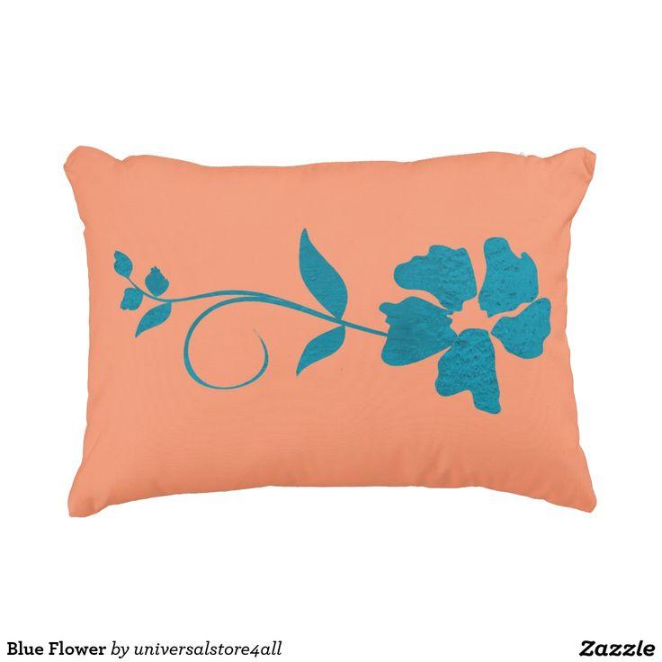 Blue Flower Decorative Pillow