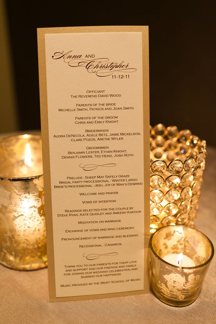 Elegant Wedding Program - I like the gold backing on this, our seating cards have this style of backing. I also like the inclusion of wedding party, order and thanks... I hope this isn't too short.