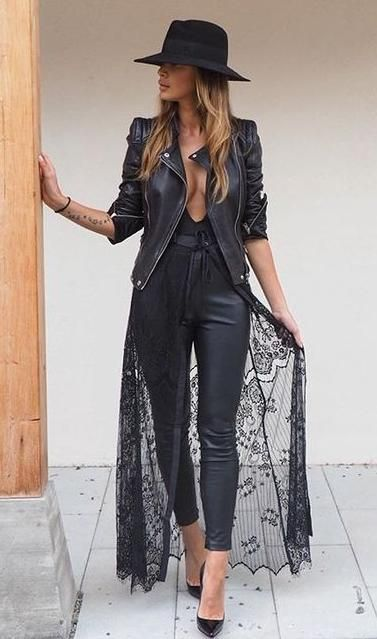 lace + leather. hat. biker jacket. kimono.