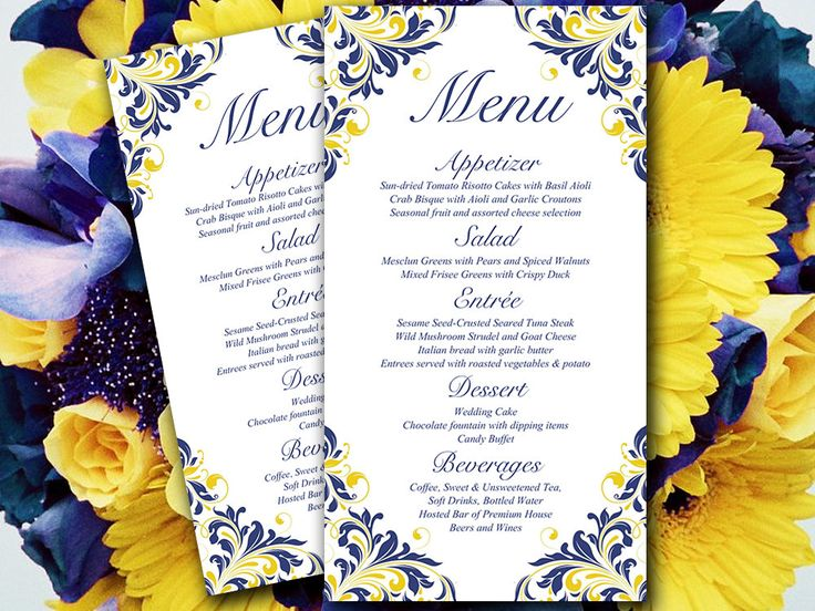 This designer menu card features the beautiful Maggie design in navy blue and yellow. Instantly download and print your own wedding menu cards