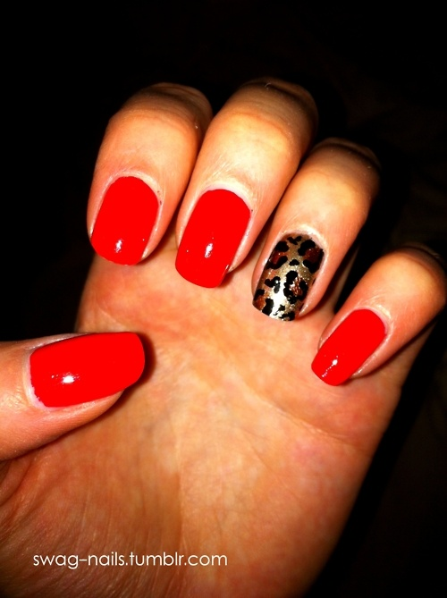 Similar to how my nails will be done. Darker red and shorter nails :) Had to infuse a touch of my leopard print
