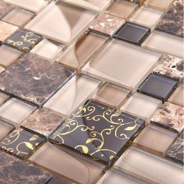 Glass mosaic stone mosaic bathroom wall tile bathroom floor tiles mosaic - modern - bathroom tile - other metro - My Building Shop