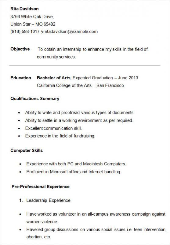 resume outline for college students