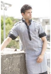 Gratifying Grey Pathani Suit With Black Jacket