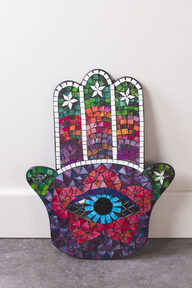 Hamsa Hand Mosaic Wall Plaque. Earthbound Trading Company.