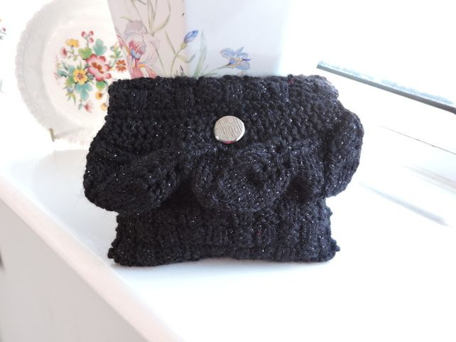 Knitted Small Black Sparkle Clutch Bag £4.50