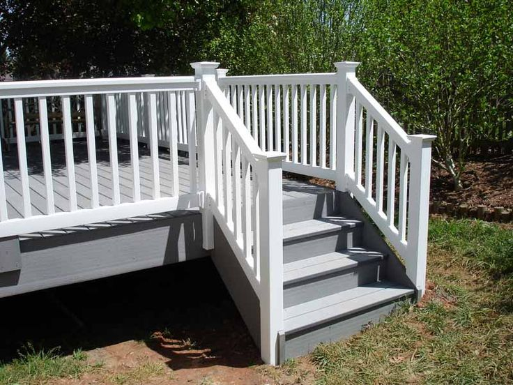 Azek deck stairs and vinyl railing decks and patios for Garden decking banister