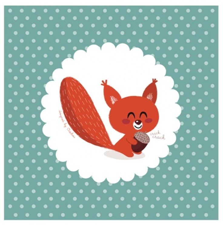 Les Contemplatives - Kit tableau & stickers Ecureuil