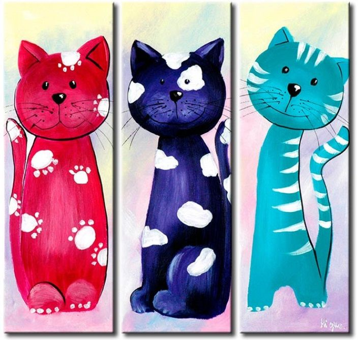 Cuadro Gatos felices, pieza decorativa para habitación de bebé, habitaciones infantiles, las partes del tríptico se cuelgan por separado, disponible en varias medidas