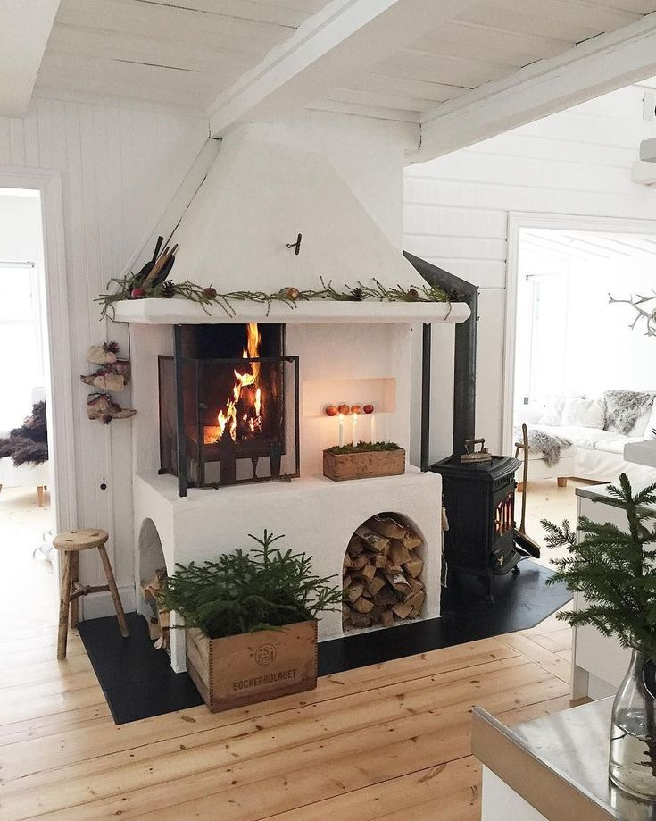 42 Lovely Scandinavian Fireplace To Rock This Year