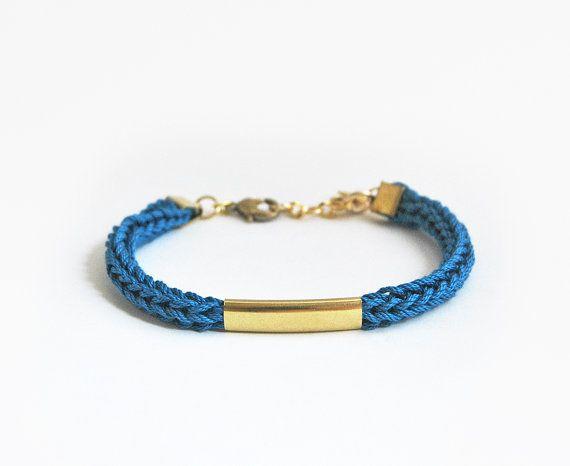 Blue bracelet with tube knit cord bracelet tube by LeiniJewelry
