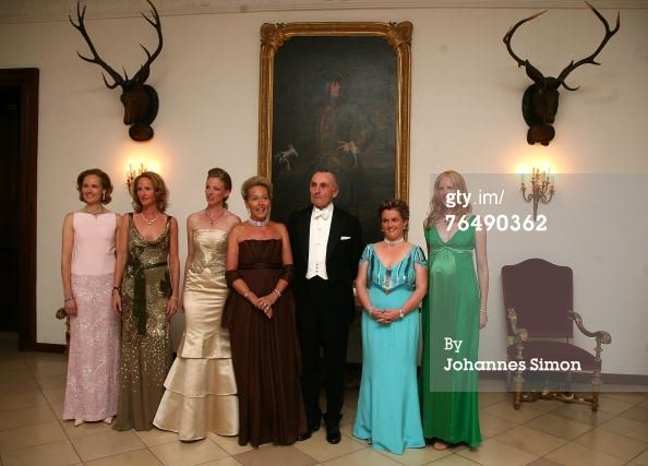 Sophie Hereditary Princess of Liechtenstein,  Duchess Marie Caroline von Wuerttemberg,  Duchess Maria Anna in Bayern (to marry Klaus Runow), their mother Duchess Elisabeth in Bayern nee Douglas, their father Duke Max in Bayern, Duchess Helene in Bayern and Duchess Elisabeth in Bayern.  The daughters are in order of birth:  1) Sophie;  2) Marie;  3) Elisabeth (at far right in green);  4) Helene (in light blue), and 5) Anna, the bride. All except Helene are married, with issue.