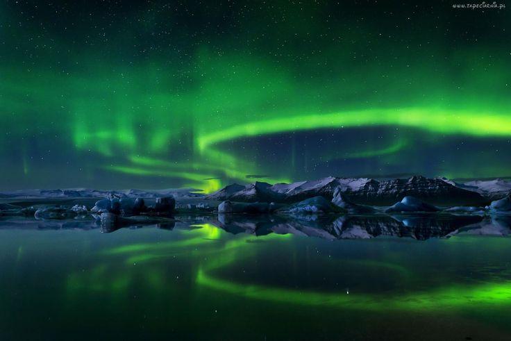 Zorza, Polarna, Jezioro, Góry, Noc