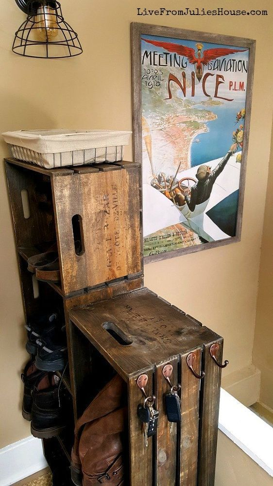 I created a cool vintage-looking shoe and boot rack to tame the chaos in my entryway out of unfinished wooden crates. It was easy! [media_id:3344500] I stained…