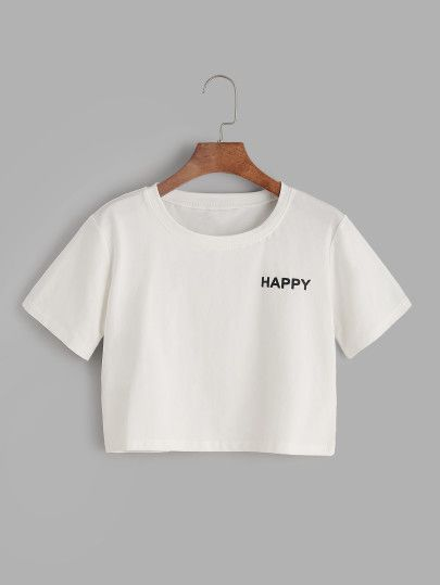 Camiseta corta con estampado de letras