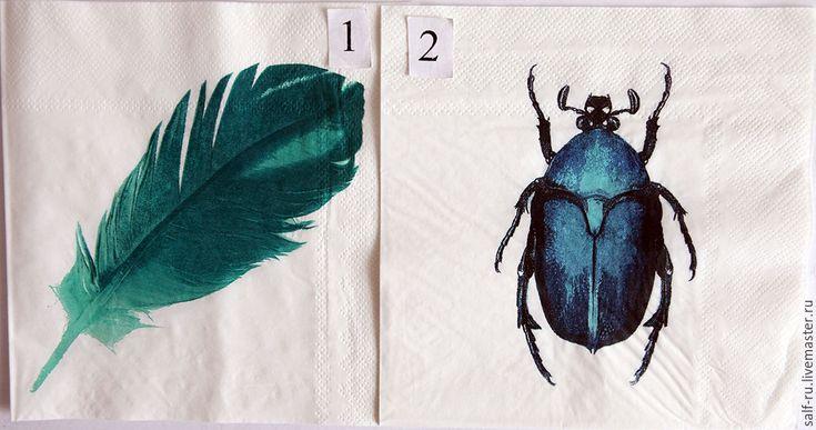Купить 2 вида!!! Салфетки Экзотические,перо и жук. - бирюзовый, жук, тропический жук, перо