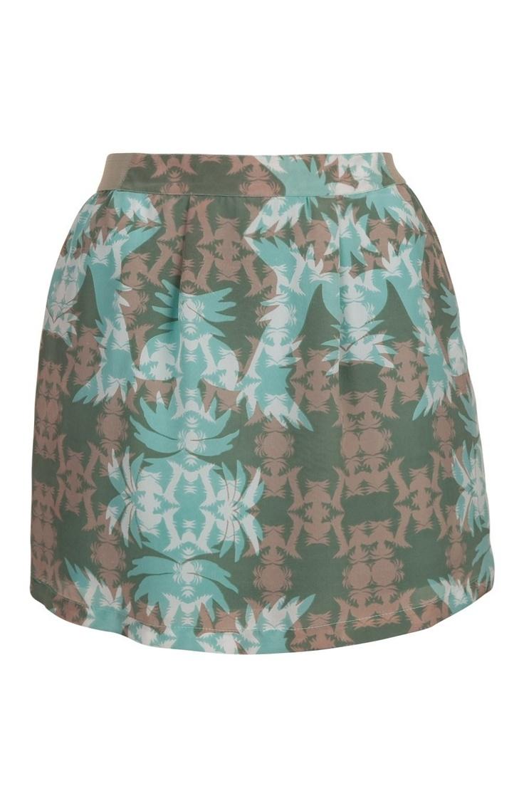 Jupe courte motif tropical vert buvard Naf Naf