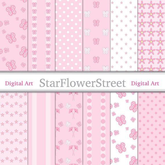 Rosa Schmetterling Digital Papier Muster Fruher Habe Ich Weich Babyrosa Und Weiss Mit Schmetterl Pattern Paper Free Digital Scrapbooking Paper Digital Paper