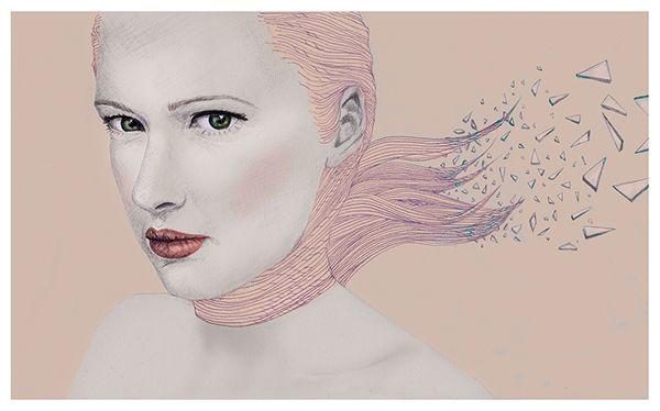 jellyfish, pink, girl, agatha, glass, hair, illustration, polish art, drawing, digital painting