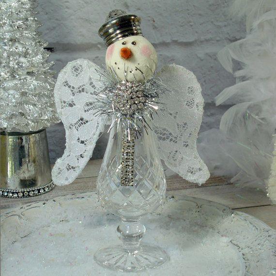 Snow Angel Vintage Shaker Assemblage Snowman Snowwoman Snowpeople Silver Sparkle Christmas Decor Winter Ice