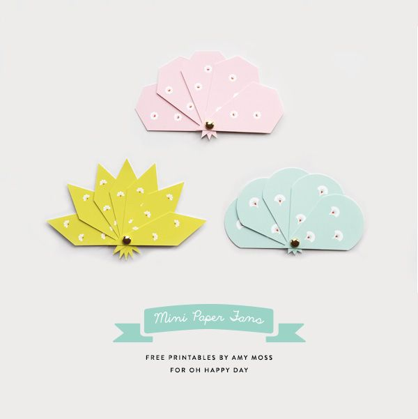 Mini Paper Fan Printables on 'Oh Happy Day'